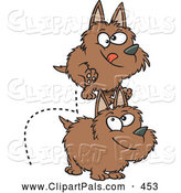 Pal Clipart of Two Dogs Leaping over Each Other by Toonaday
