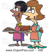 Pal Clipart of Two Ladies at a Bake Sale by Toonaday