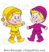 Pal Clipart of Two Little Blond Kids Dressed in Yellow and Purple by Alex Bannykh