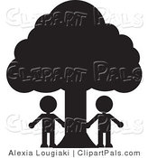 Pal Clipart of Two People Silhouetted in Black Standing Under a Large Tree by Alexia Lougiaki