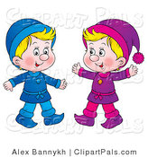 Pal Clipart of Two Twin Blond Boys Dressed in Blue and Purple by Alex Bannykh