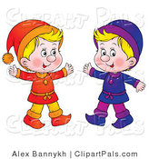 Pal Clipart of Two Twin Blond Boys Dressed in Orange and Purple by Alex Bannykh