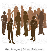 Pal Clipart of Two Women Chatting Among a Group of Silhouetted Brown People by AtStockIllustration