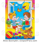 Pal Clipart of Two Young Boys Playing in an Open Window with Their Puppy on a Sunny Day by Alex Bannykh