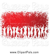 Pal Clipart of White Silhouetted Dancers Against Red with a Grungy Snowflake Border by KJ Pargeter