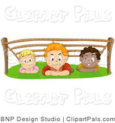 Pal Vector Clipart of a Group of Kids Hiding out and Crawling Under a Rope Structure by BNP Design Studio