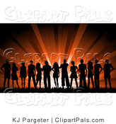 Pal Vector Clipart of a Large Silhouetted Group of Young People Outside Against Red Lights by KJ Pargeter
