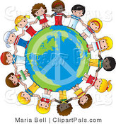 Pal Vector Clipart of a Peace Sign on Planet Earth Circled by Cute International Girls Holding Hands by Maria Bell