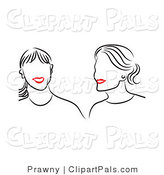 Pal Vector Clipart of Friends with Red Lips by Prawny