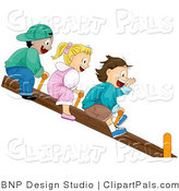 Pal Vector Clipart of Happy Kids on a Teeter Totter by BNP Design Studio