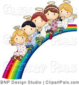 Pal Vector Clipart of Innocent Children Sliding down a Rainbow by BNP Design Studio