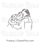 Pal Vector Clipart of Red Lipped Black and White Girls Comforting by Prawny