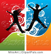 Pal Vector Clipart of Silhouetted Energetic Kids Jumping over Grunge by MilsiArt