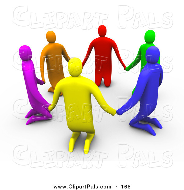 Pal Clipart of a 3d Ring of Colorful People Kneeling and Holding Hands in a Circle