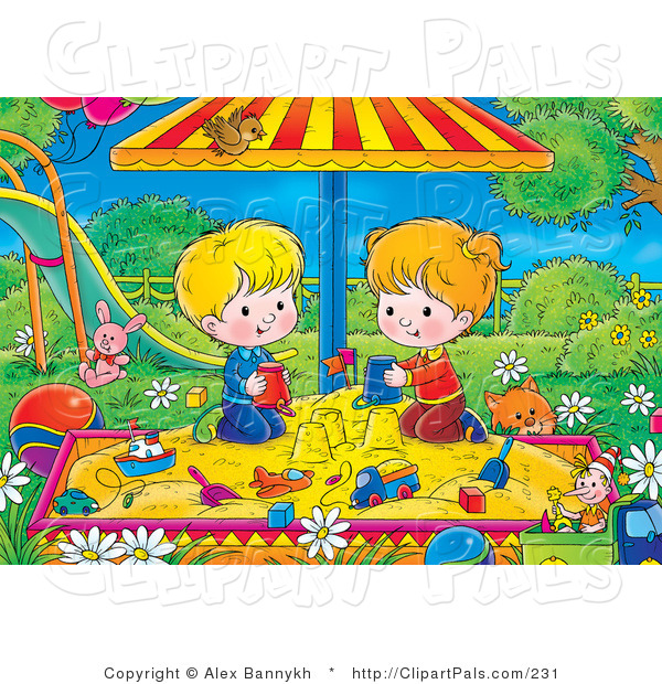 Pal Clipart of a Cat near a Twin Boy and Girl Playing in a Sandbox in a Park