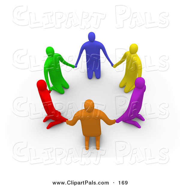 Pal Clipart of a Circle of 3d Colorful People on Their Knees in a Circle
