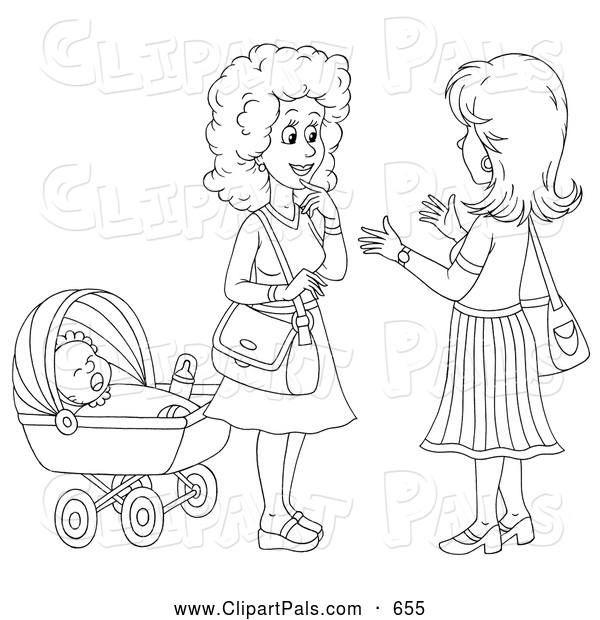 Pal Clipart of a Coloring Page Outline of Two Friendly Women Chatting by a Baby