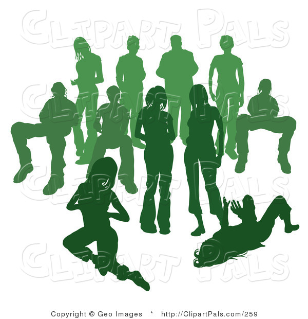 Pal Clipart of a Crowd of Green Silhouetted People Standing Together