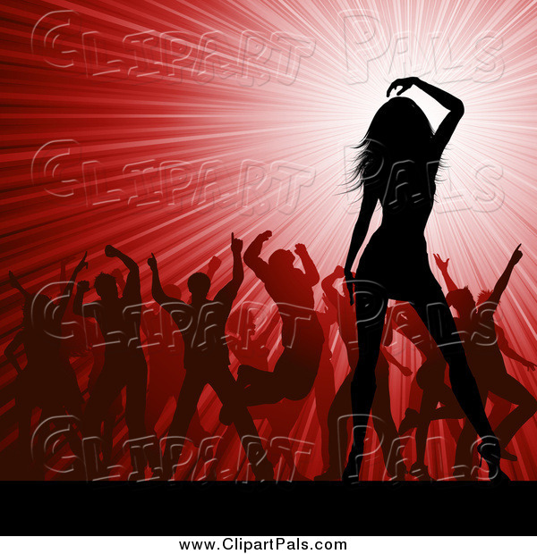 Pal Clipart of a Crowd of Silhouetted Dancers over a Red Party Burst