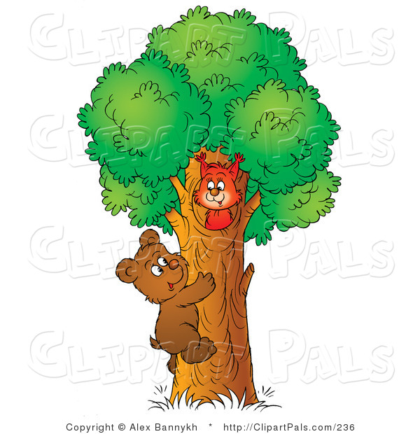 Pal Clipart of a Cute Brown Bear Cub Climbing a Tree to Visit a Friendly Squirrel
