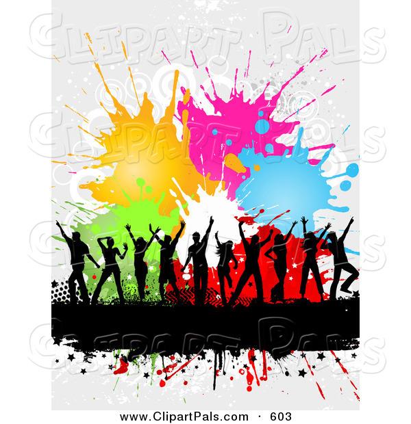 Pal Clipart of a Dancing Black Silhouetted People over a Text Bar with Halftone and Colorful Splatters over White