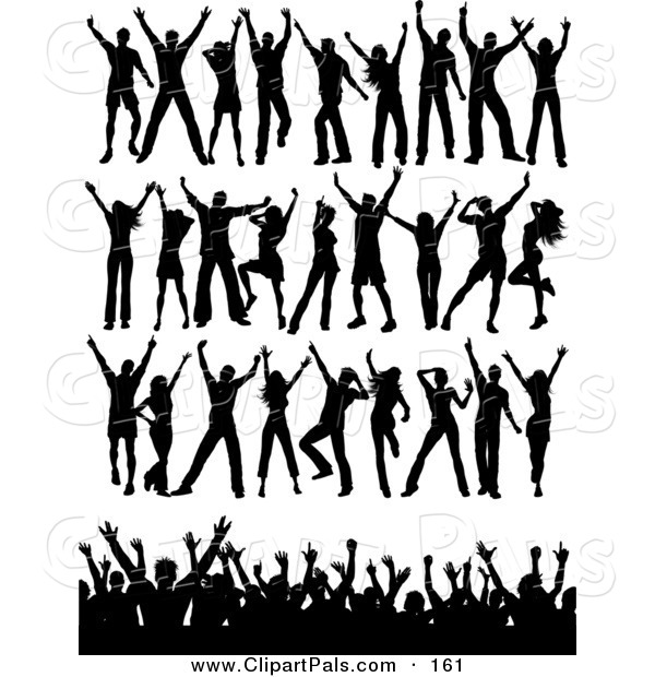 Pal Clipart of a Digital Set of Black Silhouetted Dancers in Rows and a Crowd