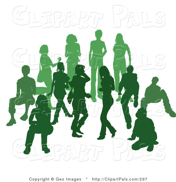 Pal Clipart of a Green Group of Silhouetted People Standing Together in a Crowd
