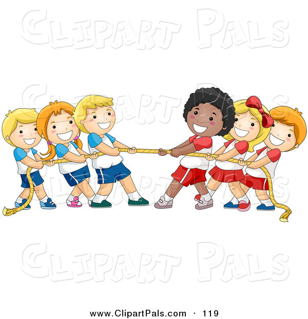 Pal Clipart of a Group of Diverse Children Playing Tug of War with a Rope on White