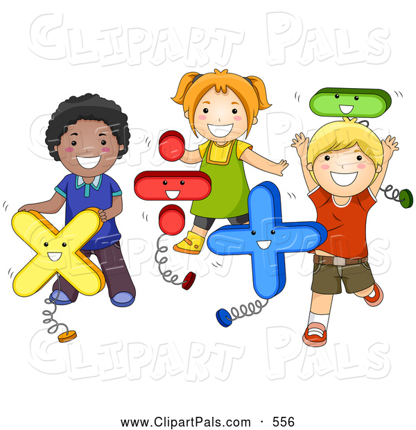 pal clipart of a group of diverse school kids playing with