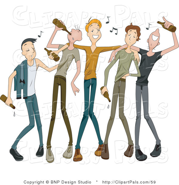 Pal Clipart of a Group of Drunk Young Men Drinking from Beer Bottles with Music Notes