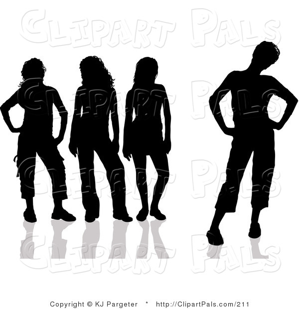 Pal Clipart of a Group of Four Black Silhouetted Women with Attitudes, Standing in Different Poses