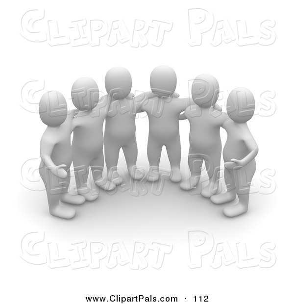 Pal Clipart of a Group of Six 3d Blanco Man Huddled