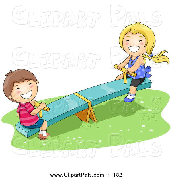 Pal Clipart of a Happy Boy and Girl Playing on a See Saw in the Park