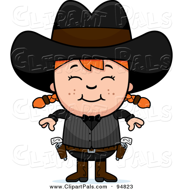 Pal Clipart of a Happy Red Haired White Gunslinger Girl