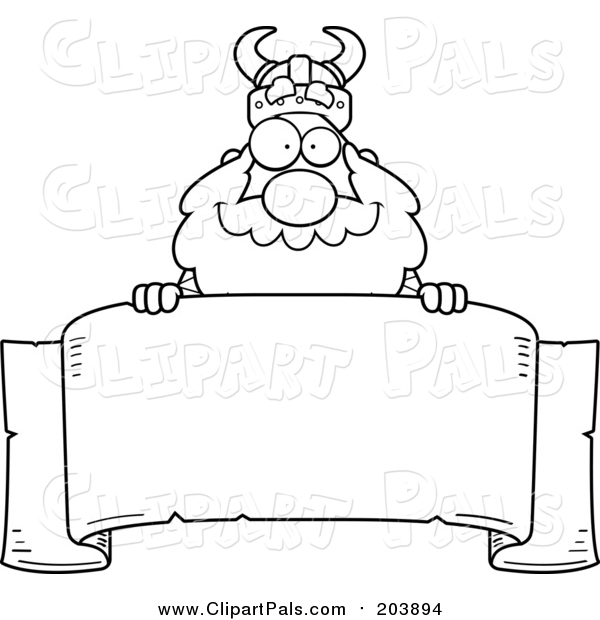 Pal Clipart of a Lineart Viking Looking over a Blank Banner