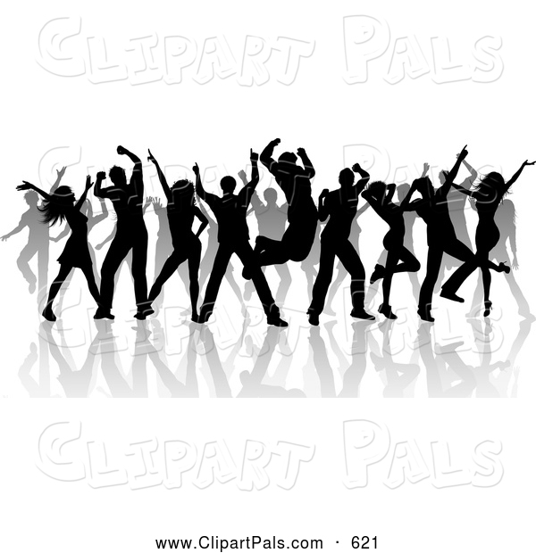 Pal Clipart of a Partying Group of Silhouetted Dancers and Reflections on White
