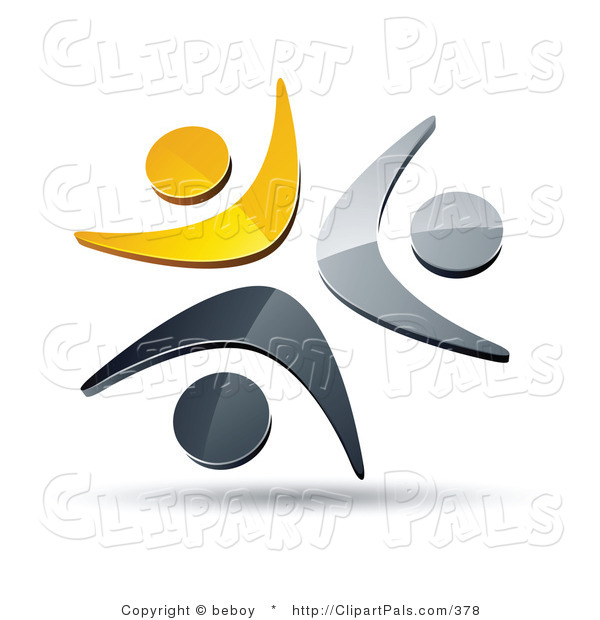 Pal Clipart of a Pre-Made Logo of a Trio of Yellow, Chrome and Black People Celebrating or Dancing