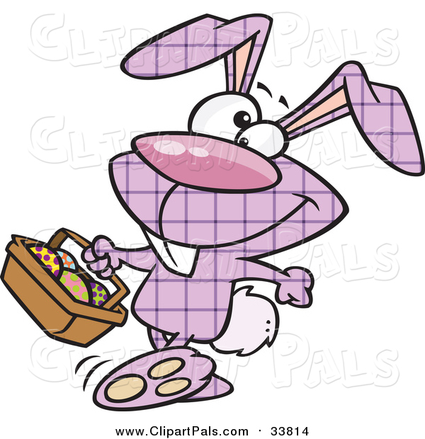 Pal Clipart of a Purple Plaid Easter Bunny Carrying a Basket of Eggs