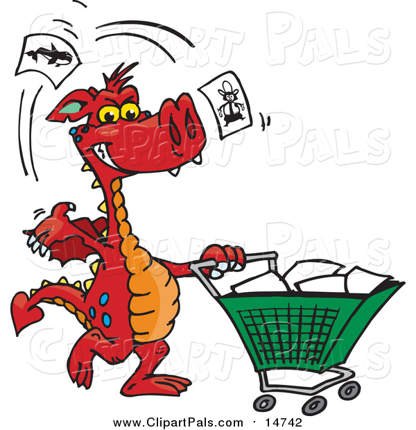 Pal Clipart of a Red Dragon Tossing Items in a Shopping Cart
