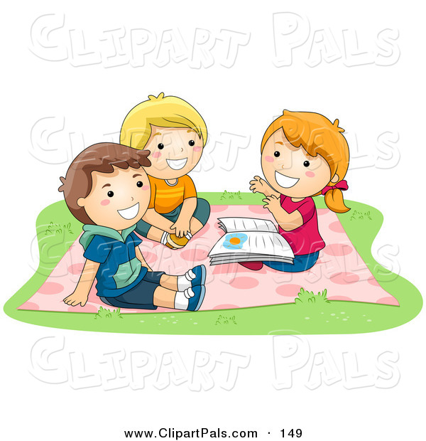 Pal Clipart of a Tio of Children - a Girl and Two Boys Sitting on a Blanket and Telling Stories