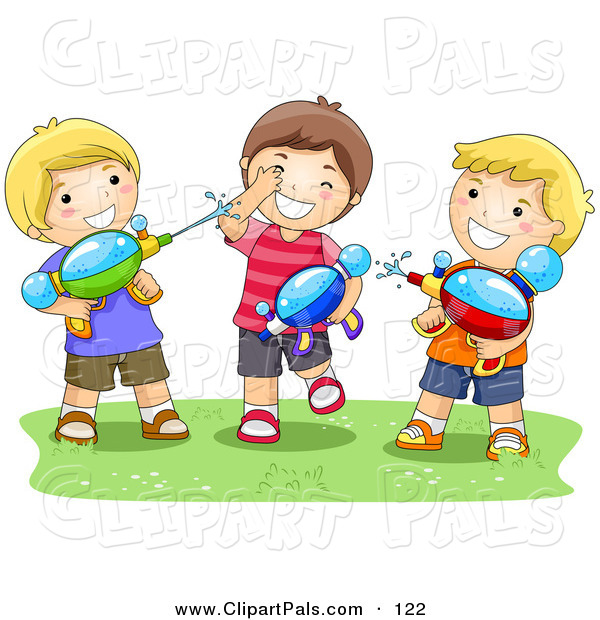 Pal Clipart of a Trio of Boys Playing with Water Squirt Guns