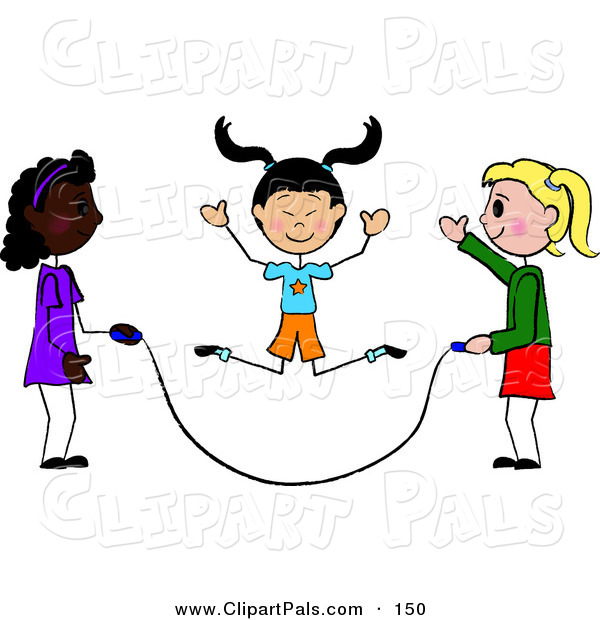 Pal Clipart of a Trio of Diverse Stick Girls Jumping Rope