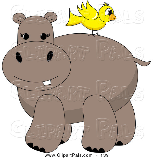 Pal Clipart of a Yellow Bird Standing on a Hippo's Back
