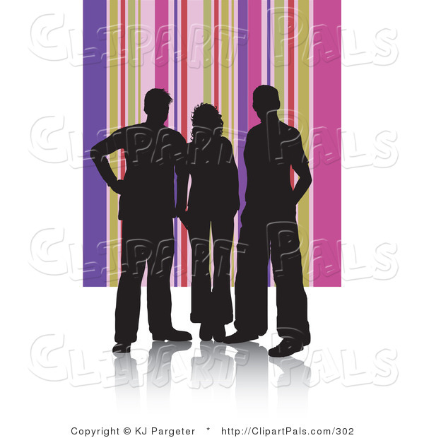Pal Clipart of Adults Silhouetted in Black Against a Pink and Purple Striped Background