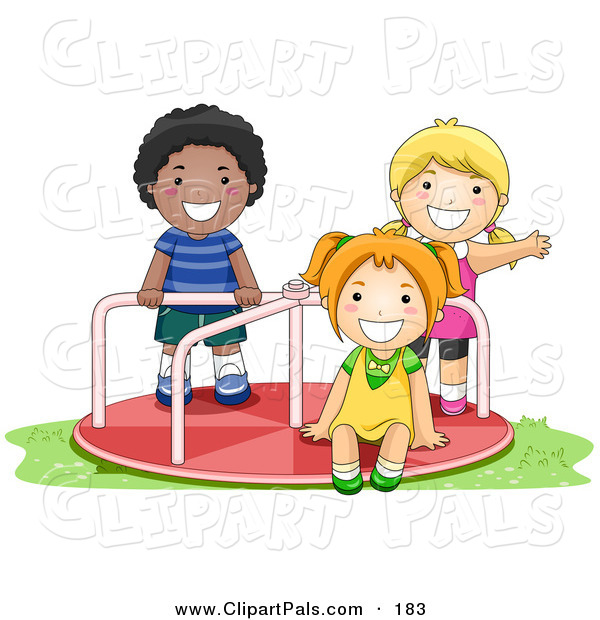 Pal Clipart of an African American Boy and White Girls Playing on a Playground Roundabout