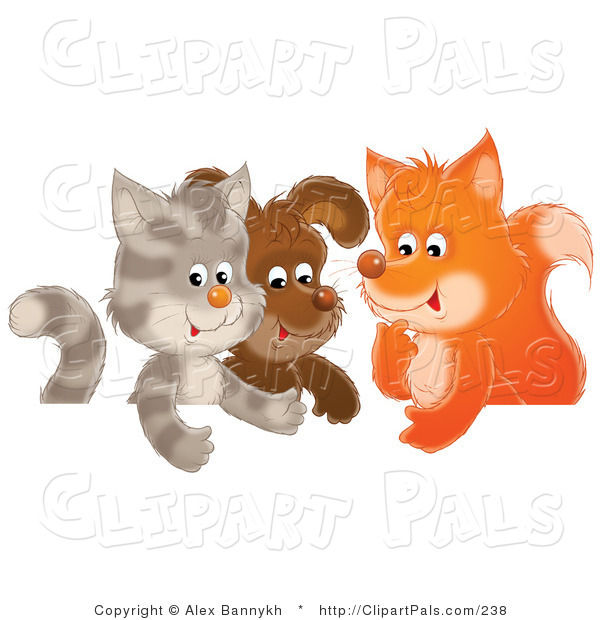 Pal Clipart of an Animal Trio of a Cute Cat, Puppy and Fox Chatting in a Group