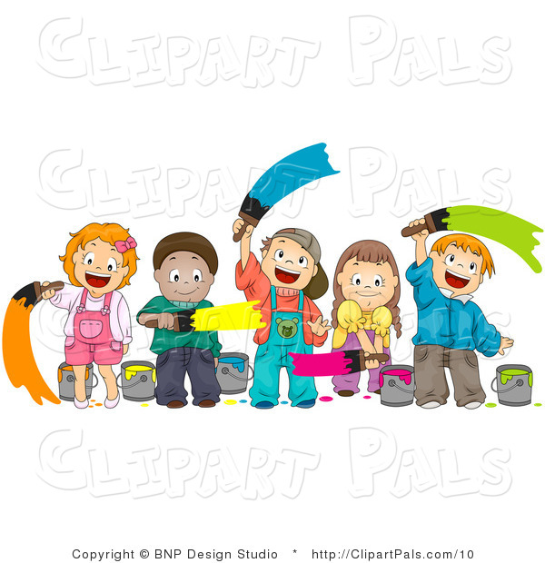 Pal Clipart of Diverse Kids Painting