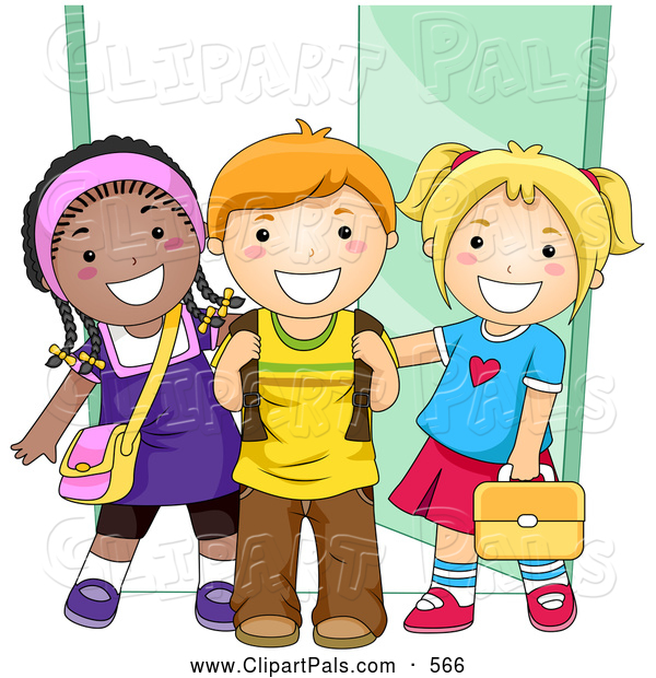 Pal Clipart of Diverse School Kids Standing by a Doorway to School