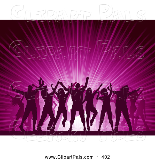 Pal Clipart of Silhouetted People Dancing over a Pink Party Burst