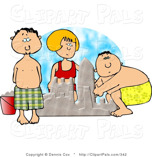 Pal Clipart of Three Boys and Girl Building a Sand Castle at the Beach